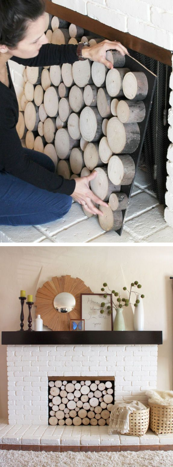 clever cover up for a fireplace- birch unchopped wood