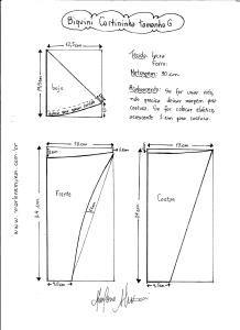 Esquema de modelagem de Biquini Cortininha tamanho G.