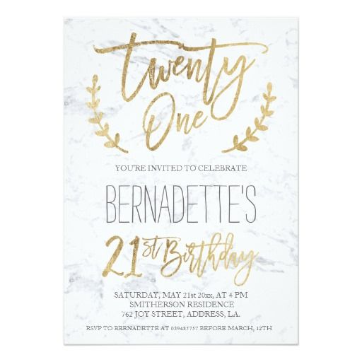 448 best 21st birthday party invitations images on pinterest faux gold typography feathers marble 21st birthday card stopboris Images