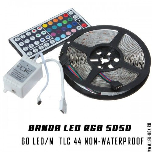 Banda led 5050 rgb smd 60 led metru 300 led rola de 5 metri plus controller si telecomanda 44 taste ir , banda cu led non-waterproof ip20 fara silicon 12v