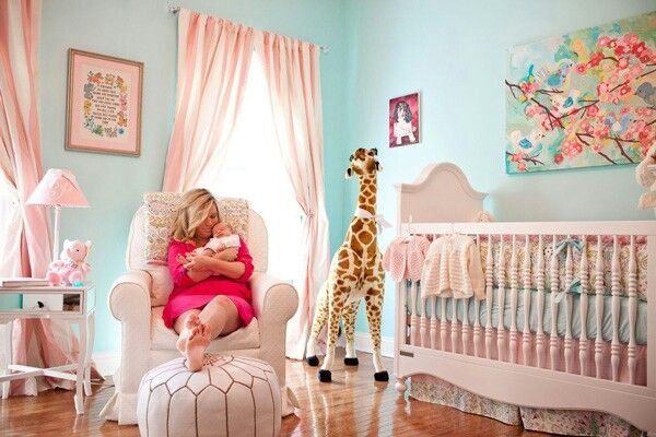 Girl Nursery- light teal and pink. Maybe I'd paint the walls a very light shade of this...