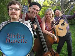 Stirfry Musette's eclectic gypsy style has an upbeat and dynamic spirit. Their world music instrumentation includes violin, guitar, accordion, mandolin, bass and percussion and a varied repertoire. Read more about Stirfry Musette here: http://artistdirectory.ky.gov/Pages/PerformingArtistPage.aspx?ArtistID=91