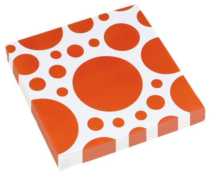 Serwetki papierowe pomarańczowe kropki idealne do dekoracji na wieczór panieński.