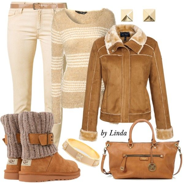 Cream & Camel Fall Winter Outfit, created by lindakol on Polyvore