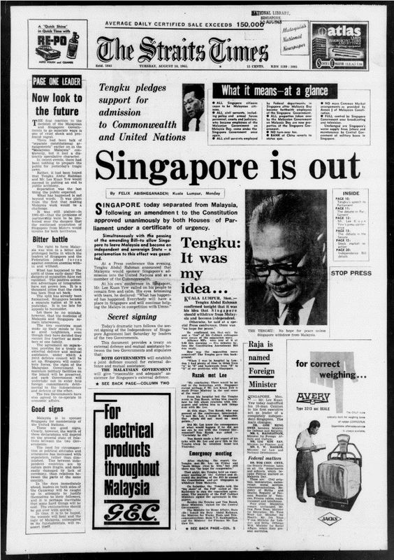 Singapore Separates from Malaysia -  1965
