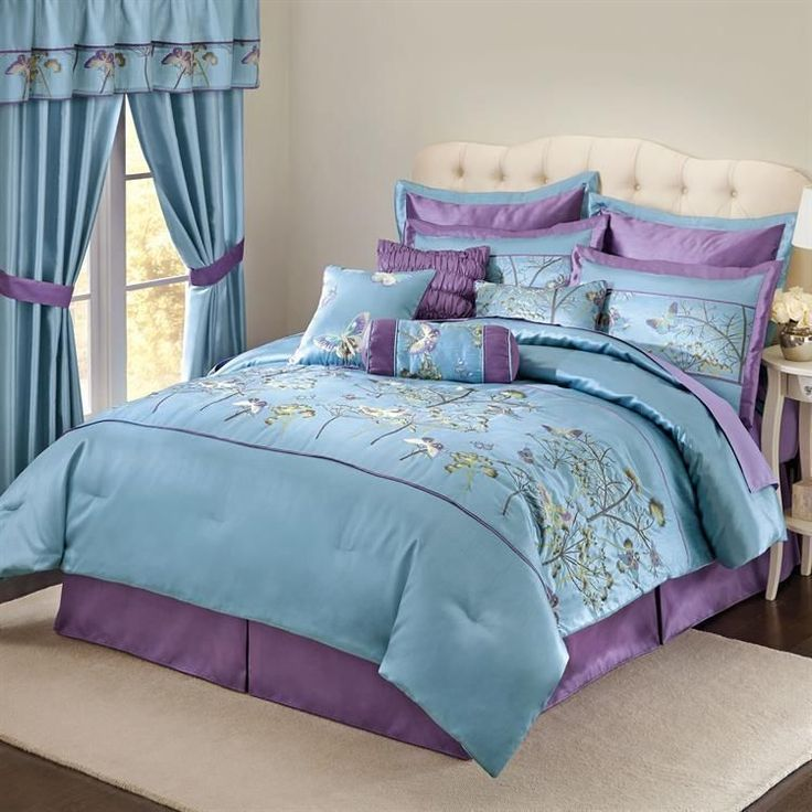 Details About Chezmoi Collection Flora 7 Piece Blue Floral Embroidered Bedding