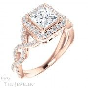 14k Rose Gold Princess Cut Engagement Ring Setting