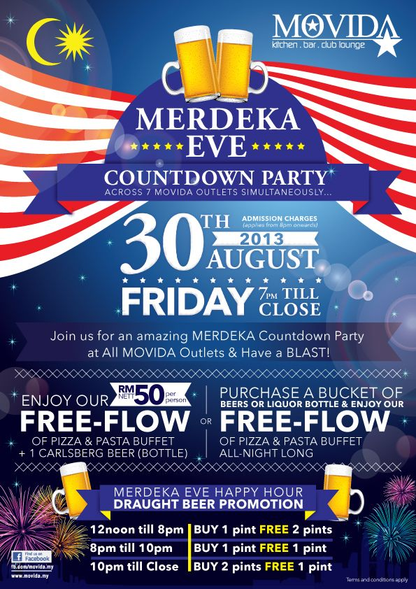 MOVIDA presents The Merdeka Eve Countdown Celebration Party on 30th August 2013, 7pm onwards!