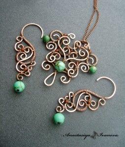 комплект кулон+серьги ( медь, имитация бирюзы, амазонит, сердолик, патина): Swir Earrings, Wire Earrings, Pendants, Wirejewelri, Unique Earrings, Scrapbook