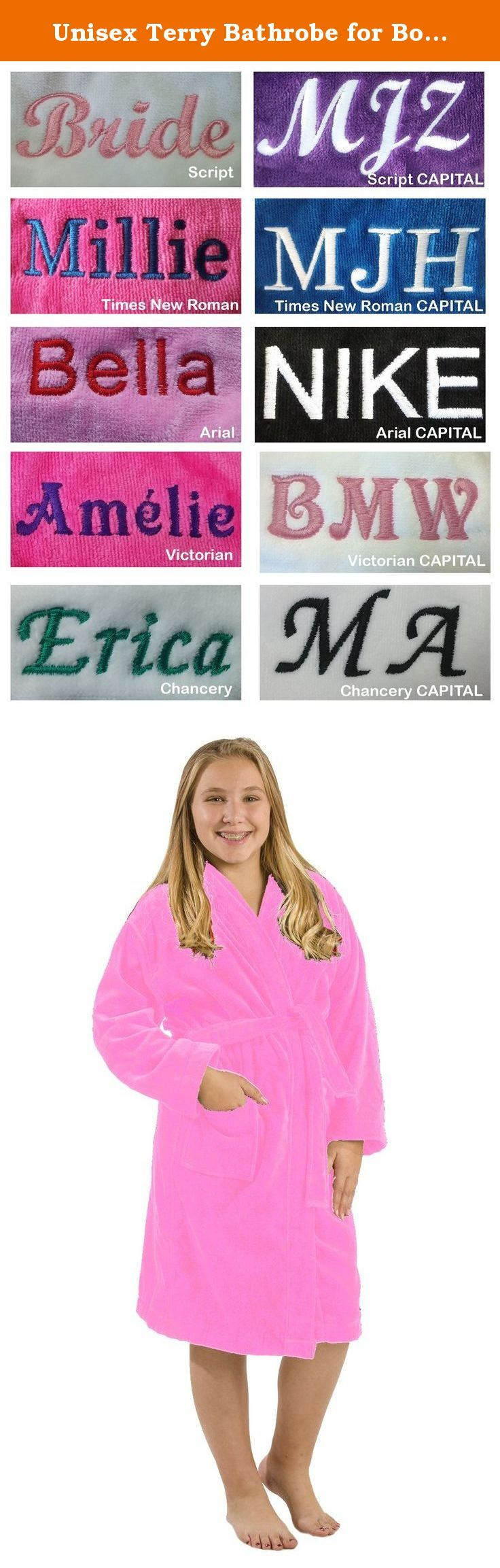 Unisex Terry Bathrobe for Boys and Girls, Pink, LARGE. TERRY VELOUR COTTON HOODED KIDS BATHROBES -Two patch pockets, double stitch for durability. -These kids robes can be used for bath, spa, shower, swimming pool, lounge or sauna. -400 gsm 100% Cotton, 21single/2 ply ring spun yarn loops, triple sheared terry on the outside and loop terry cloth on the inside. -Available Colors: Purple, White, Black,Pink, Fuchsia, Navy, Royal Blue and Red. -Here is the measurement of the Sizes: Hoods are...