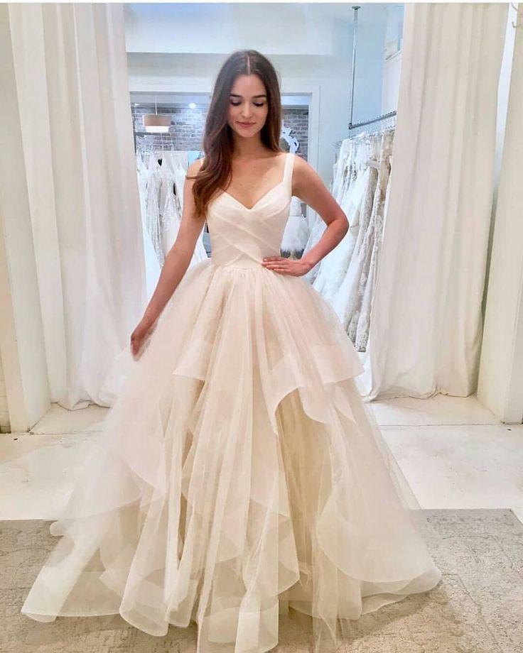 White v neck tulle long prom dress, white evening dress on Storenvy #PartyDresse…