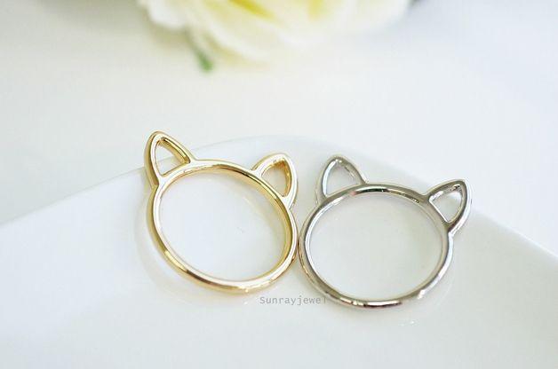 cats at DaWanda Band Rings – Cat ear ring, Cat ring, Animal, Novelty,Minimal – a unique product by sunrayjewel on DaWanda