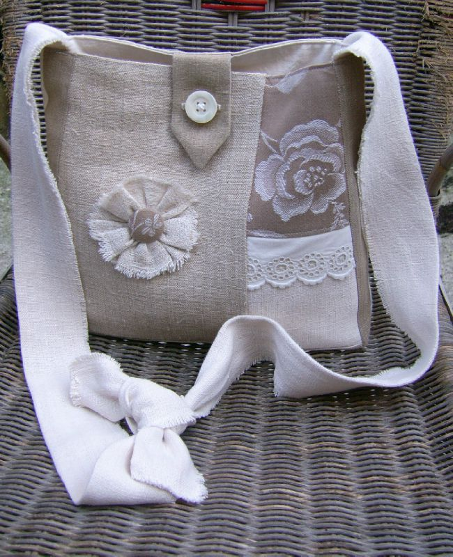 French linen lace frayed bag