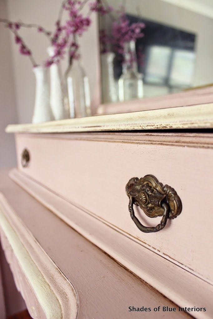 Annie Sloan Chalk Paint in Antoinette was used and used Old White for the accents, and dark wax all over.