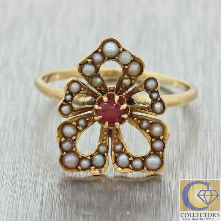 1880s Antique Victorian 10k Yellow Gold .07ct Ruby Seed Pearl Club Shape Ring
