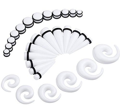 BodyJ4You Gauges Kit 36 Pieces White Spiral Tapers and Plugs 00G-20mm Stretching Kit 18 Pairs