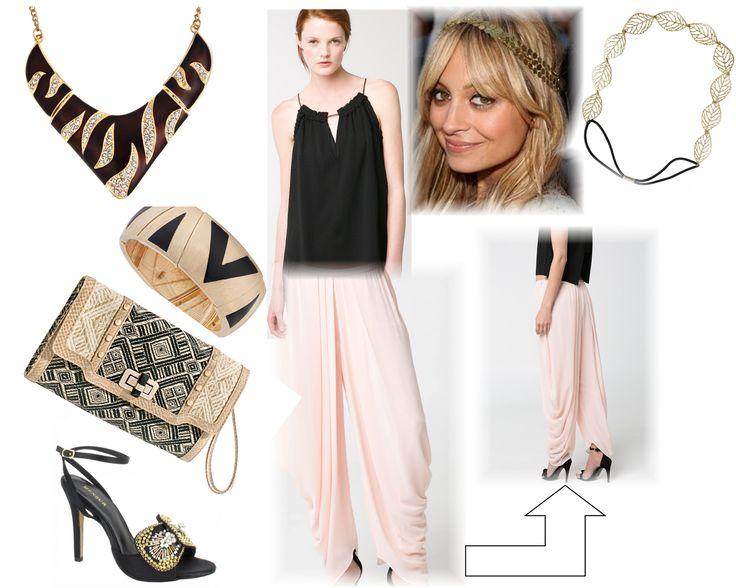 Look de invitada con pantalón, en color rosa pastel, negro y dorado.