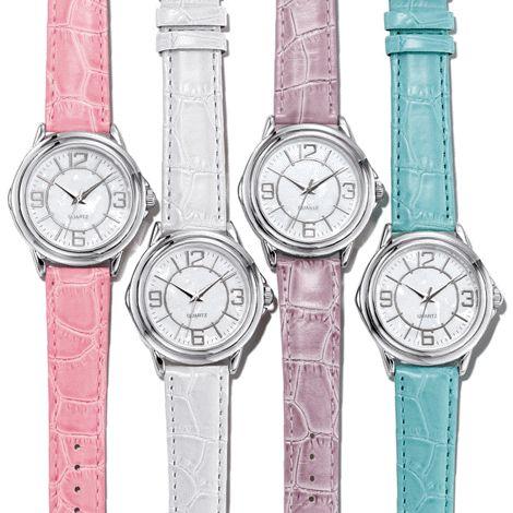 NEW - Classic round face pastel watch. HALF PRICE $14.99 each. To shop with me online, click here: http://www.interavon.ca/elisabetta.marrachiodo elizabeth.marra-chiodo@rogers.com 416-669-9217