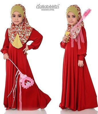 Black Red Little muslimah Long Sleeve Maxi Dress Small Girl Abaya Islam Hijab   eBay