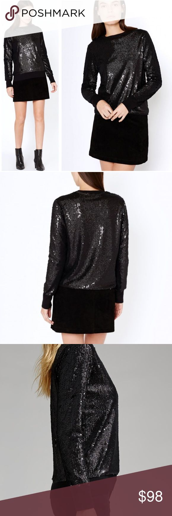 """•Equipment• Shane Black Sequin Sweater Equipment Femme Shane Black Sequin Sweater. Perfect for this Holiday Season. In Great Used Condition, Minor Wear Along Trim. 35% Viscose, 25% Wool, 20% Nylon, 20% Poly. When Laying Flat: Bust Measures Approximately 18"""" Across, Length 23"""" Equipment Sweaters Crew & Scoop Necks"""
