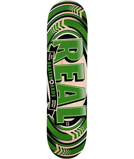 """Don't break the bank and grab the Real Renewal 8.12"""" skateboard deck. This 7-ply maple skate deck features a custom Real Renewal green circles graphic, Renewal construction for a board that is as strong as industry leading boards but a fraction of the cos"""