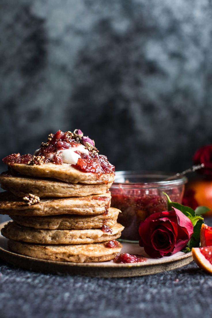 Coconut Quinoa Pancakes w/ Citrus Whipped Ricotta & Rosy Blood Orange Jam- Perfect romantic, healthy & delicious V-Day breakfast! From halfbakedharvest.com