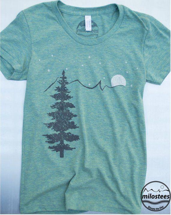 d6c9ffb6 Mountain t shirt, screen print on American Apparel 50,25,25, blend. Outdoor  shirt color tri-lemon, w