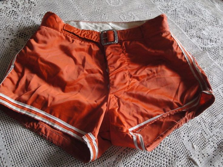 Vtg 40s 50s Shiny Satin Button Fly Belted  GYM SHORTS WRESTLING SHORTS SIZE 32