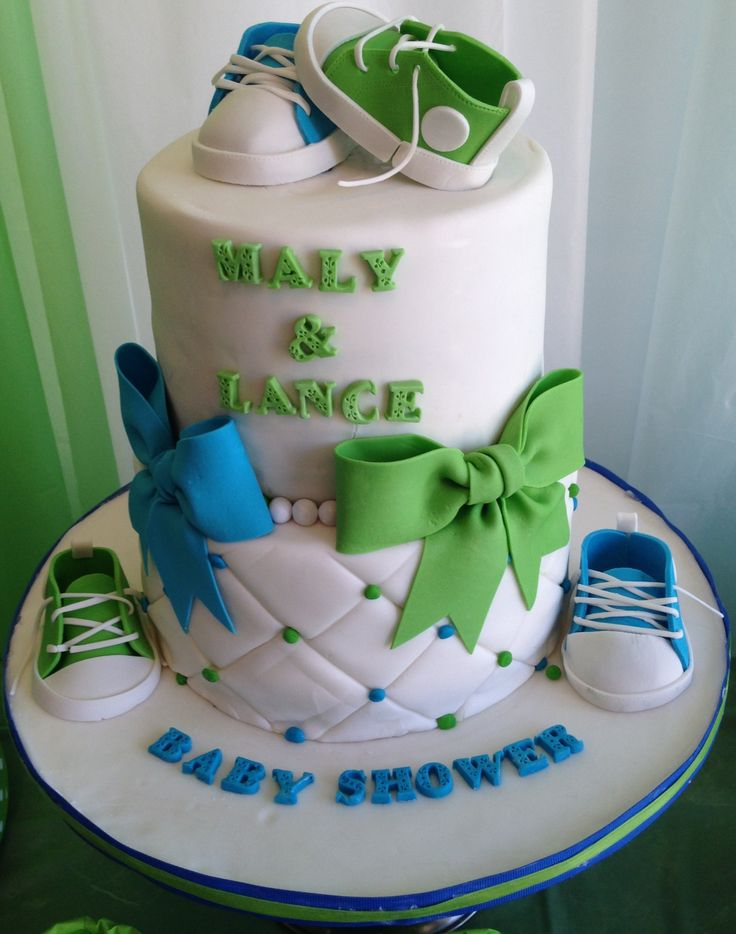Our Baby Shower Cake With Baby Chucks Converse. Blue, White U0026 Green Theme.