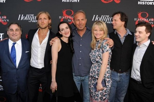 HOLLYWOOD, CA - MAY 21: (L-R) Producer Leslie Greif, actors Matt Barr, Jena Malone, Kevin Costner, Lindsay Pulsipher, Bill Paxton and Noel Fisher arrive at The Hollywood Reporter & The History Channel Screening Of 'Hatfields & McCoys' at Milk Studios on M