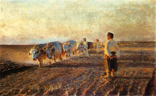 Leon Wyczółkowski 1852-1936 (Polish), Plowing fields in eastern Galicia, oil on canvas, 1892