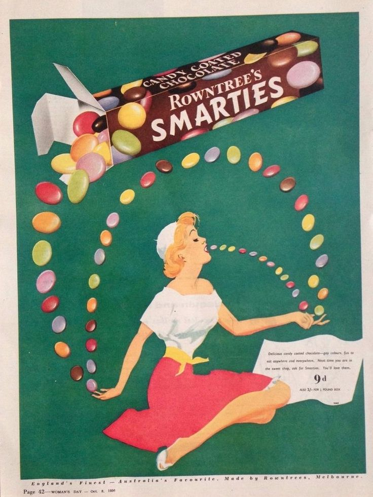 ROWNTREE S SMARTIES AD RETRO SWEETS 1956 original vintage AUSTRALIAN advertising