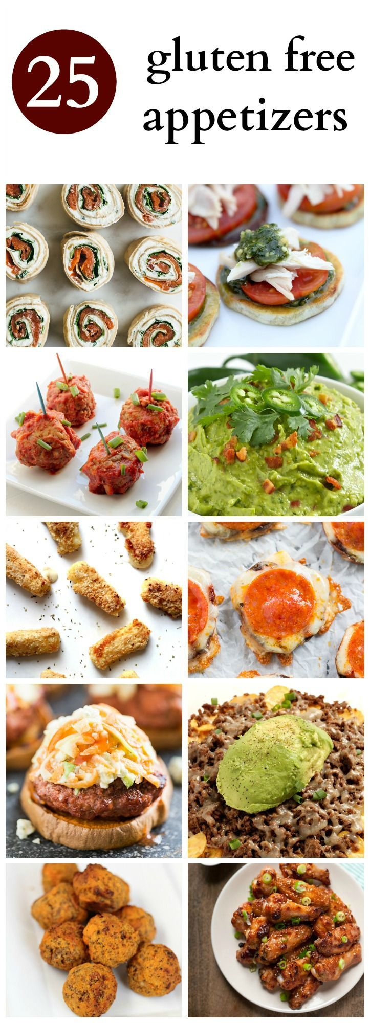 Here are 25 Gluten Free Appetizers! Perfect to bring to a party or snack on before dinner. (Most are Paleo)