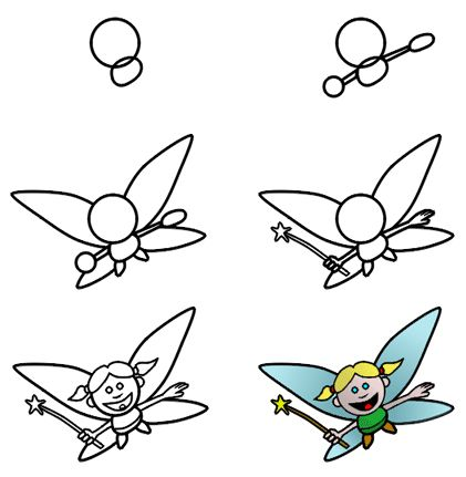 Cartoon fairies are fun to draw! This step-by-step drawing lesson should be easy to achieved! :)