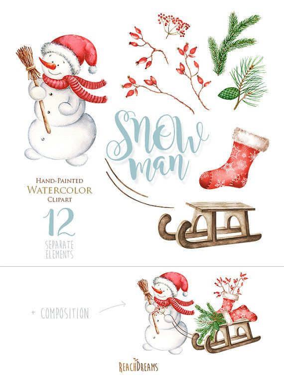 Snowman Watercolor Christmas Clipart Holiday Winter by ReachDreams
