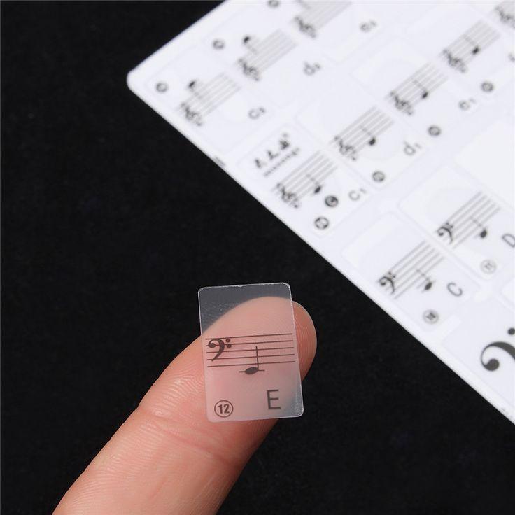 Piano Zubehör Weiß Transparent Musiknote Aufkleber Klaviertastatur Aufkleber Für 61 Keys Elektronische Tastatur Klavier