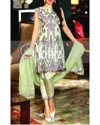 Apple Green Embroidered Crinkle Chiffon Dress