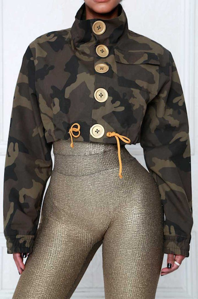 Camo Military Cropped Jacket - Ricki Brazil