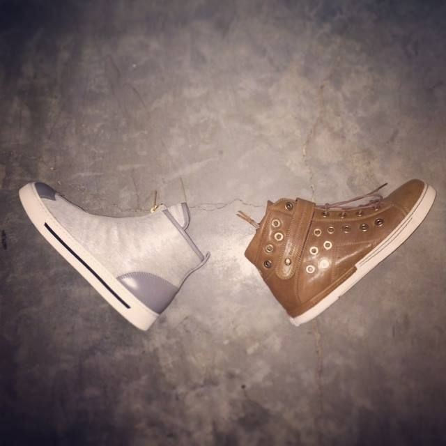 Kicking winter to the curb with high-top sneakers by Marc by Marc Jacobs and Stuart Weitzman. #sneakers #style