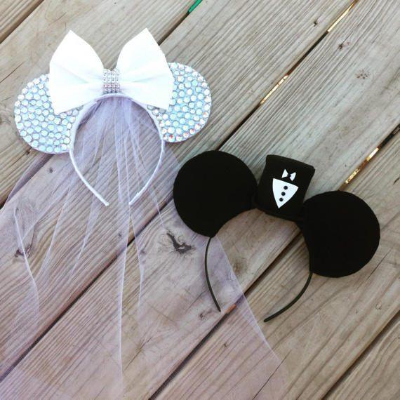 Novia y novio Disney boda Minnie y Mickey Mouse orejas
