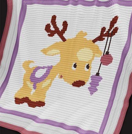 Crochet Pattern | Baby Blanket / Afghan - Christmas Deer
