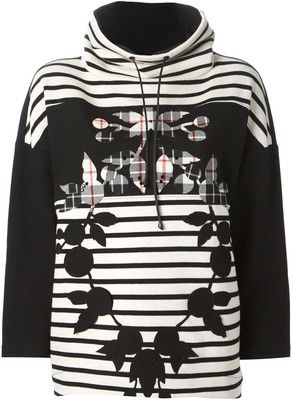 ISOLA MARRAS applique flowers striped sweatshirt