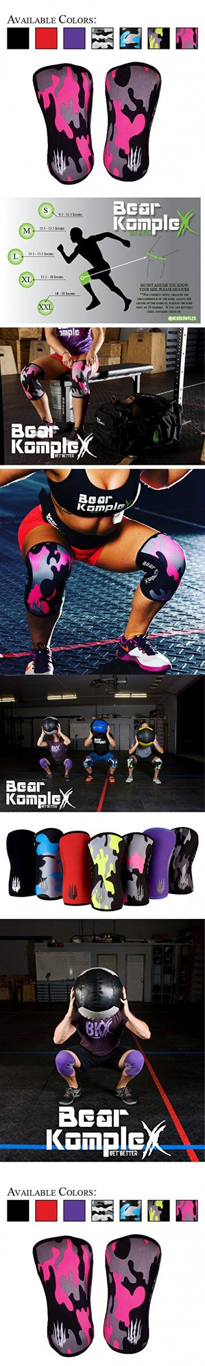Bear KompleX Knee Sleeves (SOLD AS A PAIR of 2) Crossfit, Weightlifting, Powerlifting, Squats, and more. Neoprene Compression sleeves come in 5mm and 7mm, multiple colors, PINK CAMO 7mm LARGE