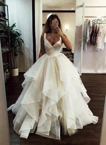 White v neck tulle long prom dress, white evening dress