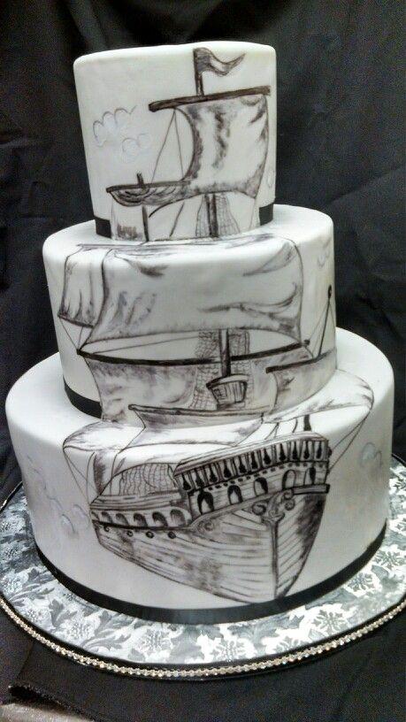 Painted ship wedding cake