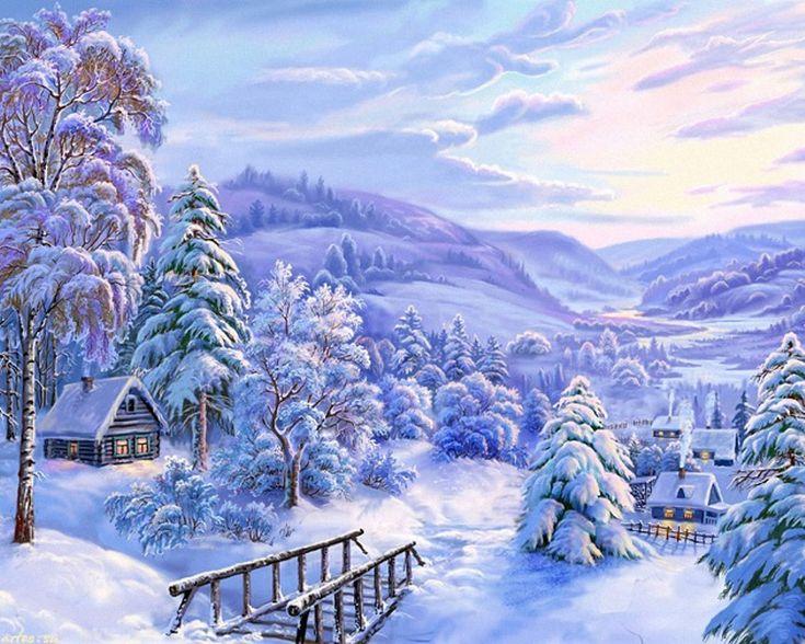 зимняя сказка открытки картинки листья трава