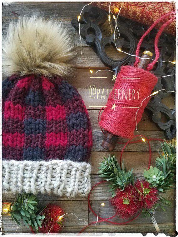 27de5c93bd7 Statistics On Women S Fashion. SUPER BULKY Plaid Hat Pumpkin Pie Knitting  Pattern