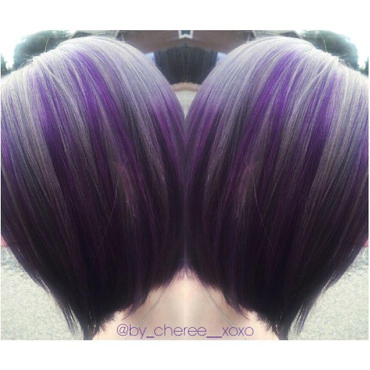 Silver & Purple Hair Pre-lightened using Kenra lightener w ...