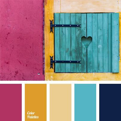 Sunny yellow color puts together and warms the contrast of dark blue and fuchsia color. Good color solution for a finishing of kitchen, dining room and nursery. This combination of colors suits youth and children's clothes and spring makeup of cheerful young girls.