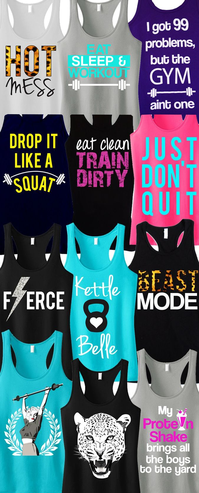 Tons of Cool colorful #Workout Tank Tops by #NoBullWomanApparel. Pick Any 3 for only $63.95. Even more to choose from on Etsy. Look good while you #Train and click here to buy! http://www.etsy.com/...